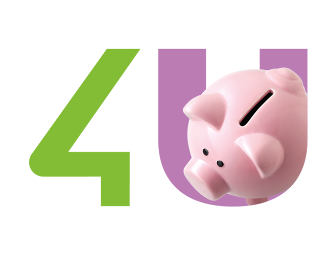 Image with green 4 and a pink U with a piggy bank