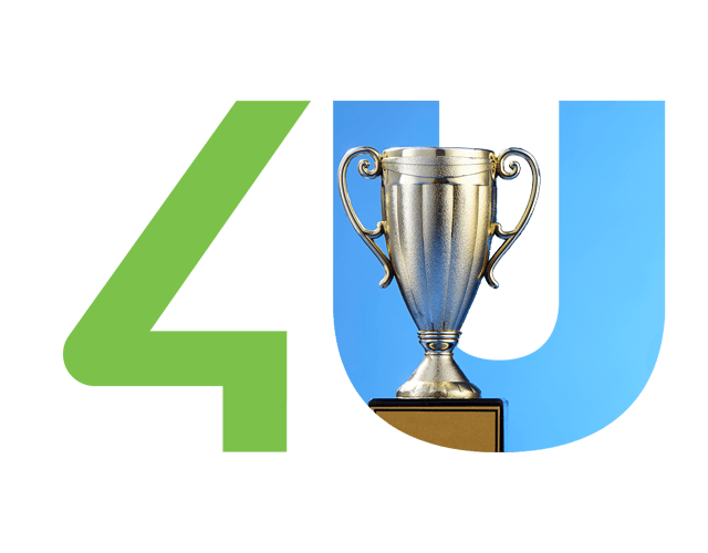 Image with green 4 and blue U with a silver cup